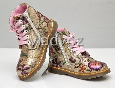 Детские демисезонные ботинки для девочек цветы 22р-24р 3875