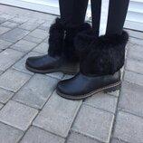 Унты сапоги женские TopS Дк-20 черные зима кожа натуральная Угги красивые