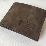 Практичный матовый мужской кошелек портмоне Leather В Наличии