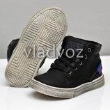 Детские демисезонные ботинки для мальчика 22р-24р черные 3876