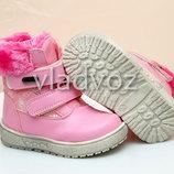 Детские зимние ботинки для девочки мех розовые 22р-26р 3877