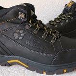 Jack Wolfskin мужские зимние кожаные ботинки сапоги Джек Вольфскин реплика черная кожа