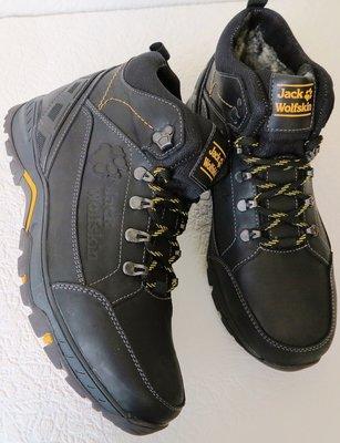 Jack Wolfskin мужские зимние кожаные ботинки сапоги Джек Вольфскин реплика черная кожа Чехия