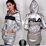 Женская куртка плащевка Fila, серебро