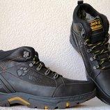 Jack Wolfskin мужские зимние Чешские кожаные ботинки сапоги Джек Вольфскин реплика черная кожа