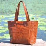 Натуральная кожа Кожаная сумка Флоренция рыжая крокодил