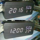 Настольные деревянные часы под дизайн мебели VST-862s черный шпон белая подсветка black - white