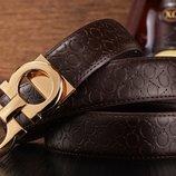 Топ качество. Бесплатная доставка. Ремень Salvatore Ferragamo коричневый/золотая бляха RM 002