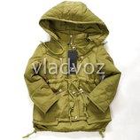 Детская демисезонная парка куртка для девочки хаки 4-8 лет 3901