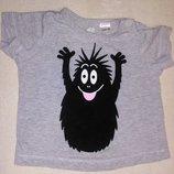 Класс Прикольная футболка H&M с классным принтом 100% organic cotton