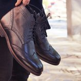 Новинка. Топ качество. Мужские высокие туфли броги кожа черного цвета 084.1