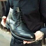 Новинка. Топ качество. Мужские высокие туфли броги кожа черного цвета 084.1 деми