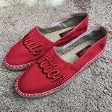 Мокасины эспадрильи красные Espadrilles Louis Vuitton Bidart Red
