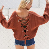 Стильные вязаные свитера кофты свободного кроя со шнуровкой на спине с-м-л,5цвета