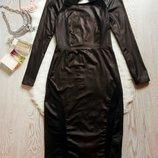 Черное платье миди с открытой спиной и вставками кожзам под латекс сетка вырезы секси Boohoo