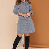 Льняное платье-рубашка с накладнымкарманом 44-52р