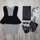 Классное черное и белое в полоску платье с баской бюстье мини нарядное New Look