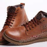 Кожаные зимние ботинки Clarks Originals Dayton M - 1801 светло-коричневые