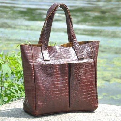 09668e1b3d30 Натуральная кожа Кожаная женская сумка Палермо крокодиловая коричневая