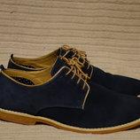 Легкие комфортные темно-синие замшевые туфли-дерби Next Англия 42 р.