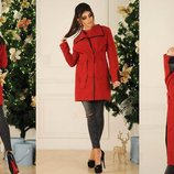 женское пальто-тренч Ткань кашемир хорошего качества Цвет чёрный , красный