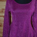 блуза H&M c металлической нитью люрекс, блеск цвета фуксии. Размер 38, - наш 44.