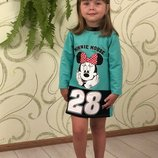 Стильное платье туника для девочки платье с Минни на девочку