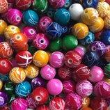 Бусины круглые цветной микс 25шт