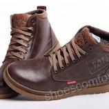 Кожаные зимние ботинки Clarks Originals Dayton M - 1801 коричневые