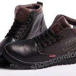 Кожаные зимние ботинки Clarks Originals Dayton M - 1801 черные