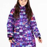 Детская зимняя удлинённая термокуртка для девочки 140146, 152158 Just Play