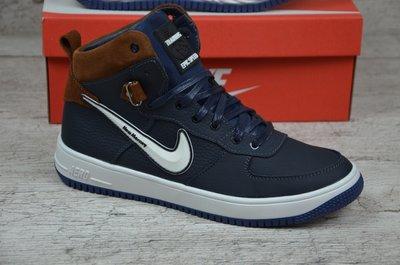 Мужские кожаные зимние ботинки Nike крипс