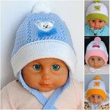 Детская деми Шапка на завязках для девочек и мальчиков Мишка Ог 40-42 3-6 месяцев