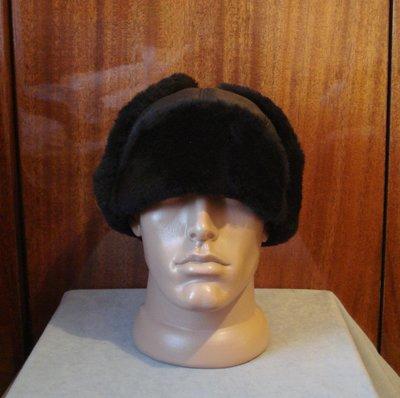 Кожаная шапка-ушанка с натуральным мехом Rommani