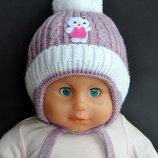 Шикарная зимняя Шапка на меху для девочек Китти Ог 40-44 3-9 месяцев