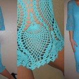 Платье-Миди бирюзовое ажурное вязаное х/б 12 40 р.