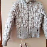 Куртка зима, пуховик р 48 цвет светло серый, капюшон отстегивается