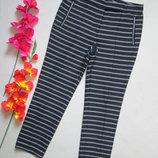 Стильные укороченные плотные трикотажные брюки в полоску Zara оригинал.