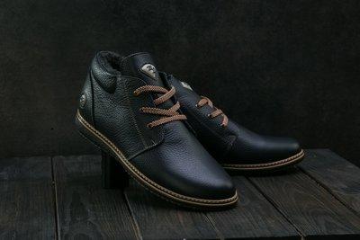 Мужские кожаные зимние ботинки синие TIOW-M1