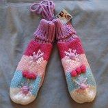 Подростковые вязаные перчатки-варежки с снежинками на шнурочке