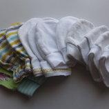 рукавички хлопчатобумажные новорождненным младенцам на 0 - 3 месяца