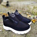 Ботинки дутики зимние черные женские