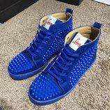 Ботинки Christian Louboutin Louis Spikes Men's Flat Blue Suede