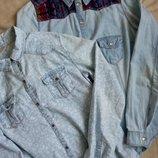распродажа джинсовых рубашек девочкам на 13-14 лет рост158-164см