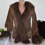 Брендовая Коричневая Демисезонная Кожаная Куртка с Карманами RIVER ISLAND Натуральная Кожа Мех