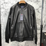Кожаная куртка бомбер Jacket Armani Blouson Black