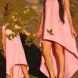 Комплект платьев с шлейфом мама дочка фемели лук тренд 2019г