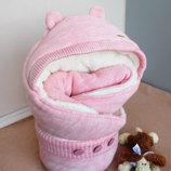 Утеплённый Конверт-Одеяло Полушерсть на махре для девочки розовый Мишутка