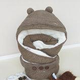 Детский утеплённый Конверт-Одеяло полушерсть на махре коричневый Мишутка
