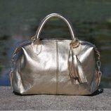Натуральная кожа Кожаная женская сумка Барселона золото
